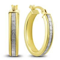 Illusion Plate Setting Hoop Earrings in Gold Plated  .925 Sterling Silver