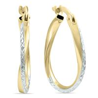 14K Yellow Gold Two Toned Twisted Hoop Earrings
