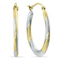 14K Yellow Gold Tone Toned Hoop Earrings (25mm)