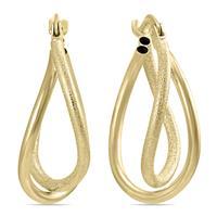 Twisted Drop Hoop Earrings in 14K Yellow Gold
