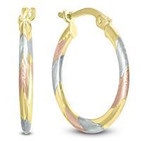 14K Yellow Gold Tri-Color Hoop Earrings
