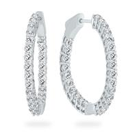 2 Carat TW Round Diamond Hoop Earrings with Push Down Button Lock in 14K White Gold