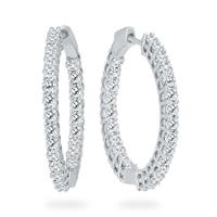 AGS Certified 3 Carat TW Round Diamond Hoop Earrings with Push Down Button Lock in 14K White Gold