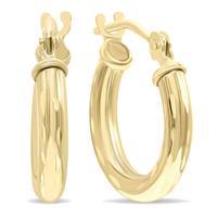 10K Yellow Gold Shiny Diamond Cut Engraved Hoop Earrings (14mm)