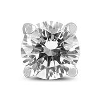 1/4 Carat Round Single Stud Diamond Earring in 14K White Gold