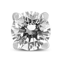 1/2 Carat Round Single Stud Diamond Earring in 14K White Gold