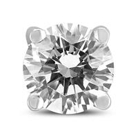 AGS Certified 3/4 Carat Round Single Stud Diamond Earring in 14K White Gold
