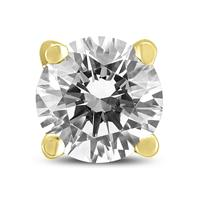 1/2 Carat Round Single Stud Diamond Earring in 14K Yellow Gold