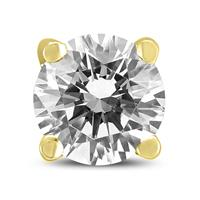 AGS Certified 3/4 Carat Round Single Stud Diamond Earring in 14K Yellow Gold