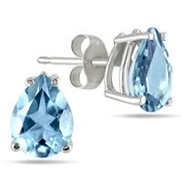6x4MM All Natural Pear Aquamarine Stud Earrings in .925 Sterling Silver