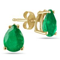All-Natural Genuine 6x4 mm, Pear Shape Emerald earrings set in 14k Yellow gold