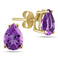 All-Natural Genuine 8x6 mm, Pear Shape Amethyst earrings set in 14k Yellow gold