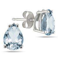 All-Natural Genuine 8x6 mm, Pear Shape Aquamarine earrings set in 14k White Gold