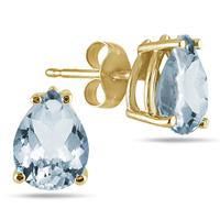 All-Natural Genuine 8x6 mm, Pear Shape Aquamarine earrings set in 14k Yellow gold