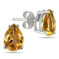 All-Natural Genuine 8x6 mm, Pear Shape Citrine earrings set in 14k White Gold
