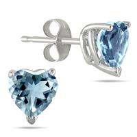 All-Natural Genuine 5mm Heart Shape Aquamarine Earrings in .925 Sterling Silver
