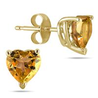 All-Natural Genuine 6 mm, Heart Shape Citrine earrings set in 14k Yellow gold