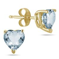 All-Natural Genuine 7 mm, Heart Shape Aquamarine earrings set in 14k Yellow gold