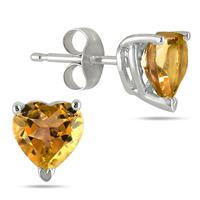 All-Natural Genuine 7 mm, Heart Shape Citrine earrings set in 14k White Gold