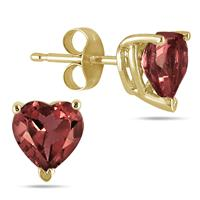 All-Natural Genuine 7 mm, Heart Shape Garnet earrings set in 14k Yellow gold