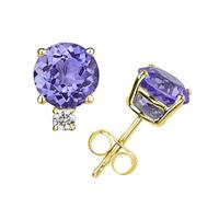 4mm Round Tanzanite and Diamond Stud Earrings in 14K Yellow Gold