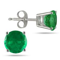 All-Natural Genuine 4 mm, Round Emerald earrings set in 14k White Gold