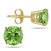 All-Natural Genuine 4 mm, Round Peridot earrings set in 14k Yellow gold
