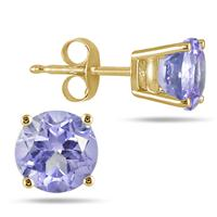 All-Natural Genuine 5 mm, Round Tanzanite earrings set in 14k Yellow gold