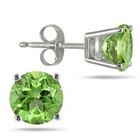 All-Natural Genuine 6 mm, Round Peridot earrings set in 14k White Gold