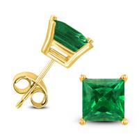 14K Yellow Gold 4MM Square Emerald Earrings
