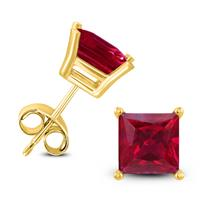 14K Yellow Gold 4MM Square Ruby Earrings