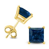 14K Yellow Gold 4MM Square Sapphire Earrings