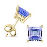 14K Yellow Gold 4MM Square Tanzanite Earrings
