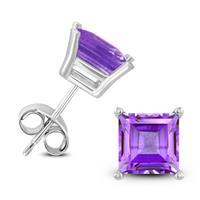 14K White Gold 5MM Square Amethyst Earrings
