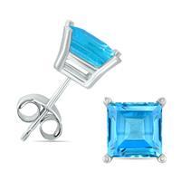 14K White Gold 5MM Square Blue Topaz Earrings