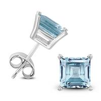 14K White Gold 6MM Square Aquamarine Earrings