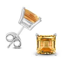 14K White Gold 6MM Square Citrine Earrings