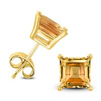14K Yellow Gold 6MM Square Citrine Earrings