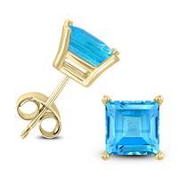 14K Yellow Gold 7MM Square Blue Topaz Earrings