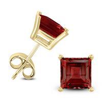 14K Yellow Gold 7MM Square Garnet Earrings