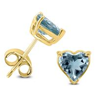14K Yellow Gold 4MM Heart Aquamarine Earrings