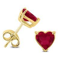 14K Yellow Gold 4MM Heart Ruby Earrings