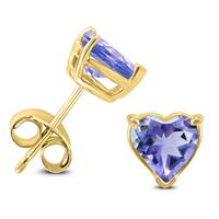 14K Yellow Gold 4MM Heart Tanzanite Earrings
