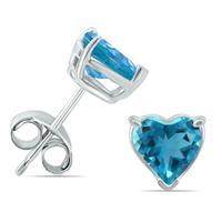 14K White Gold 5MM Heart Blue Topaz Earrings