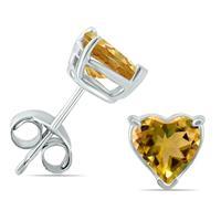 14K White Gold 5MM Heart Citrine Earrings