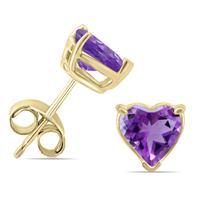 14K Yellow Gold 5MM Heart Amethyst Earrings
