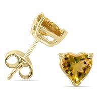14K Yellow Gold 5MM Heart Citrine Earrings