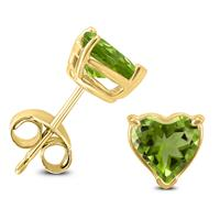 14K Yellow Gold 6MM Heart Peridot Earrings