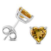14K White Gold 7MM Heart Citrine Earrings