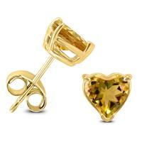 14K Yellow Gold 7MM Heart Citrine Earrings